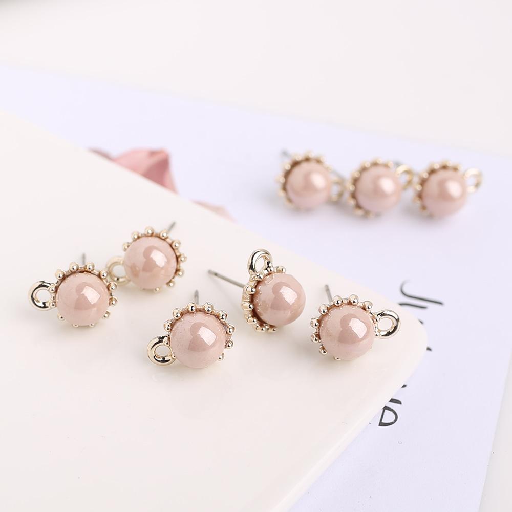 에폭시 핑크원형 포스트 귀걸이 부자재 N-CC-0014