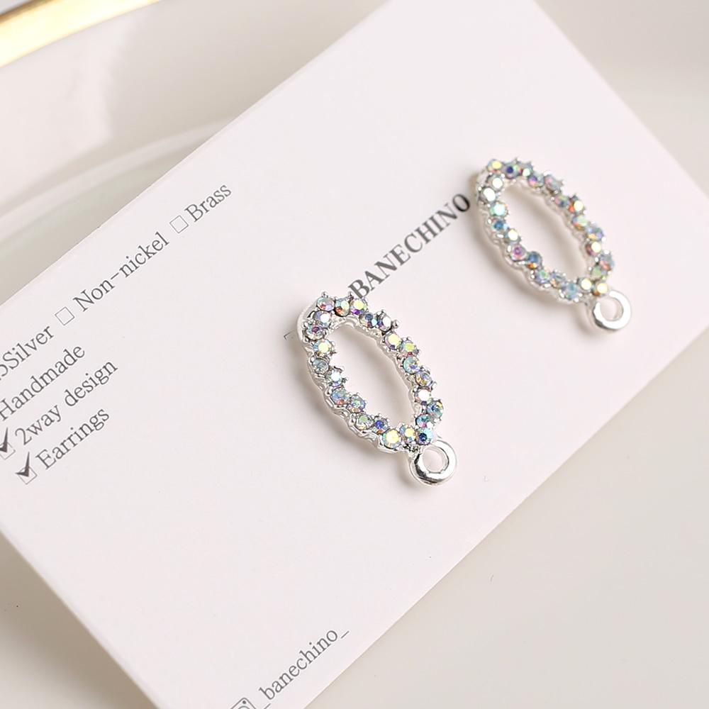 18 mm 실버큐빅 라인포스트 귀걸이 부자재 N-CC-0127