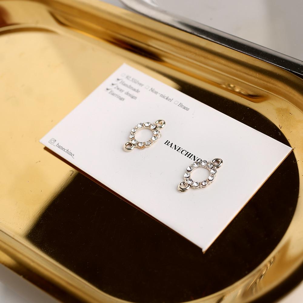 10큐빅 원형 더블팬던트 키링 귀걸이부자재 P-DQ-0021