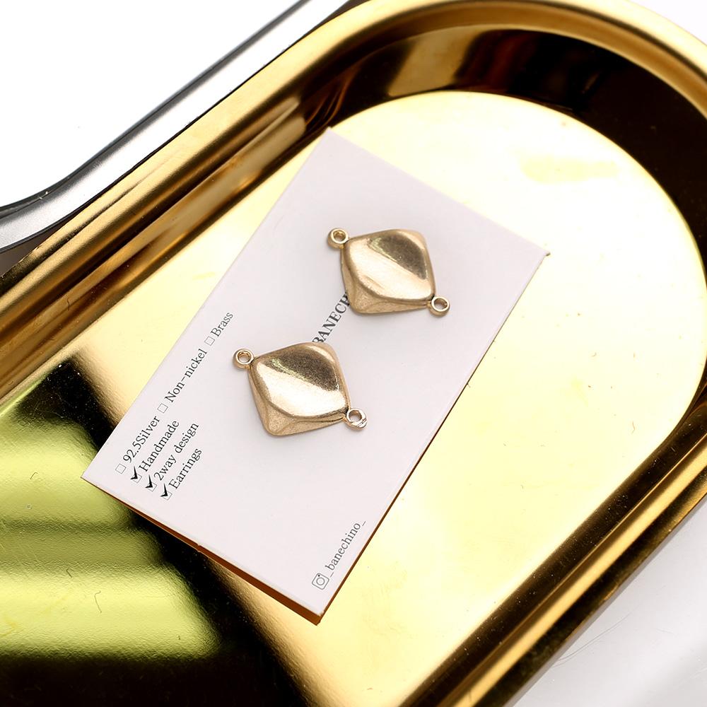 17mm 골드 눌림마름모 더블팬던트 키링 귀걸이부자재 P-DQ-0024