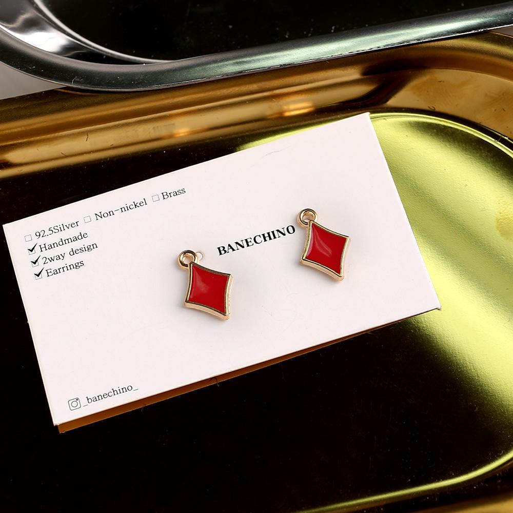 10mm 레드 슬림마름모 싱글팬던트 키링 귀걸이부자재 P-SS-0196