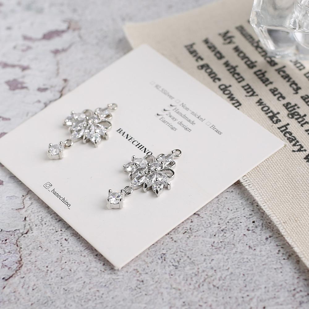 유리나무 지르코니아 화이트 싱글 악세사리 귀걸이 부자재 P-SZ-0004