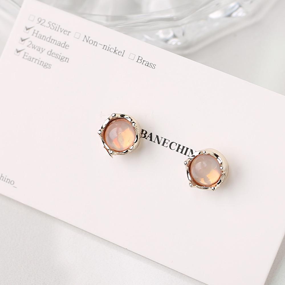 8mm 핑크세라믹 티탄침 세트형 귀걸이부자재 S-FF-028
