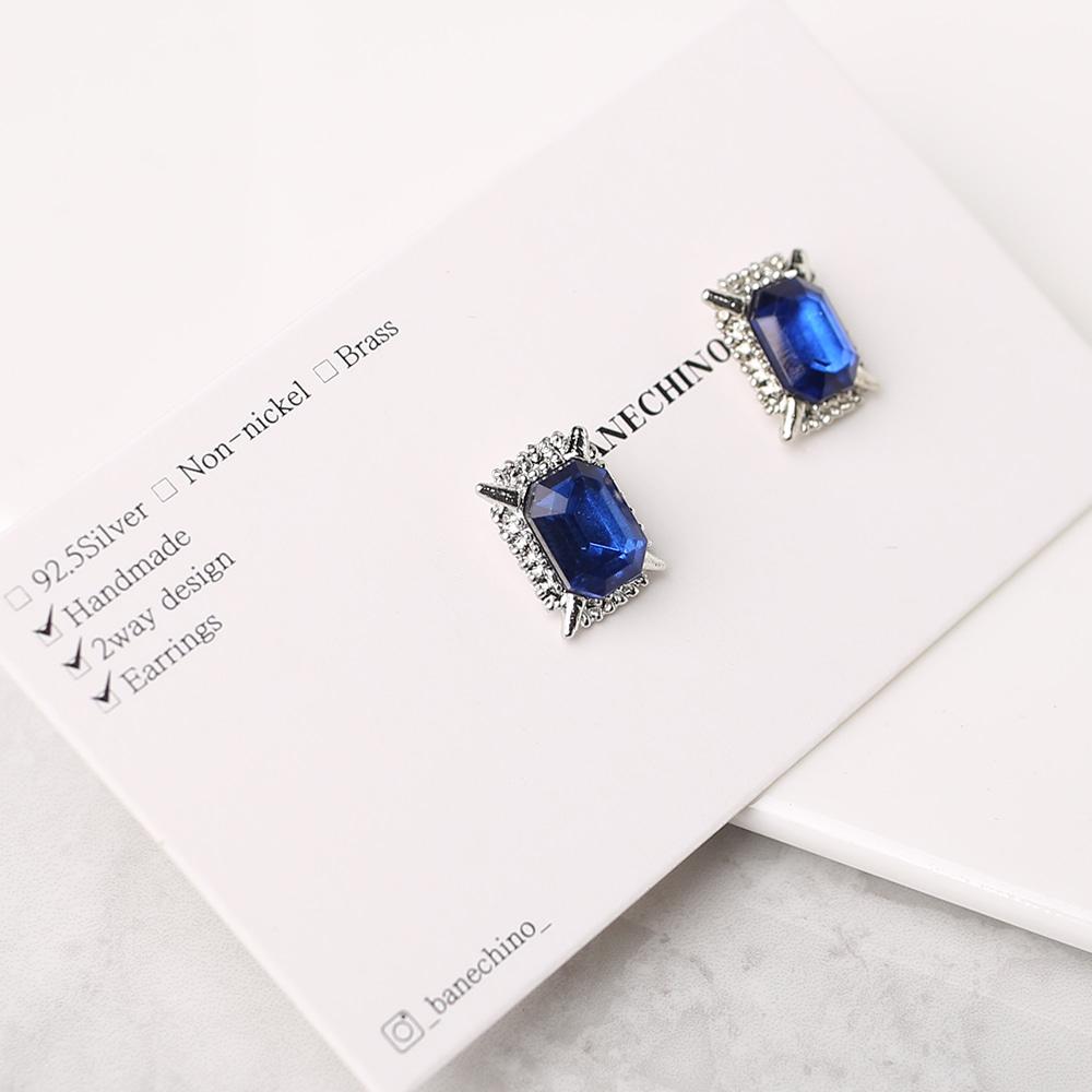11mm 엔틱사각 블루큐빅 무니켈도금침 세트형 귀걸이부자재 S-FF-031