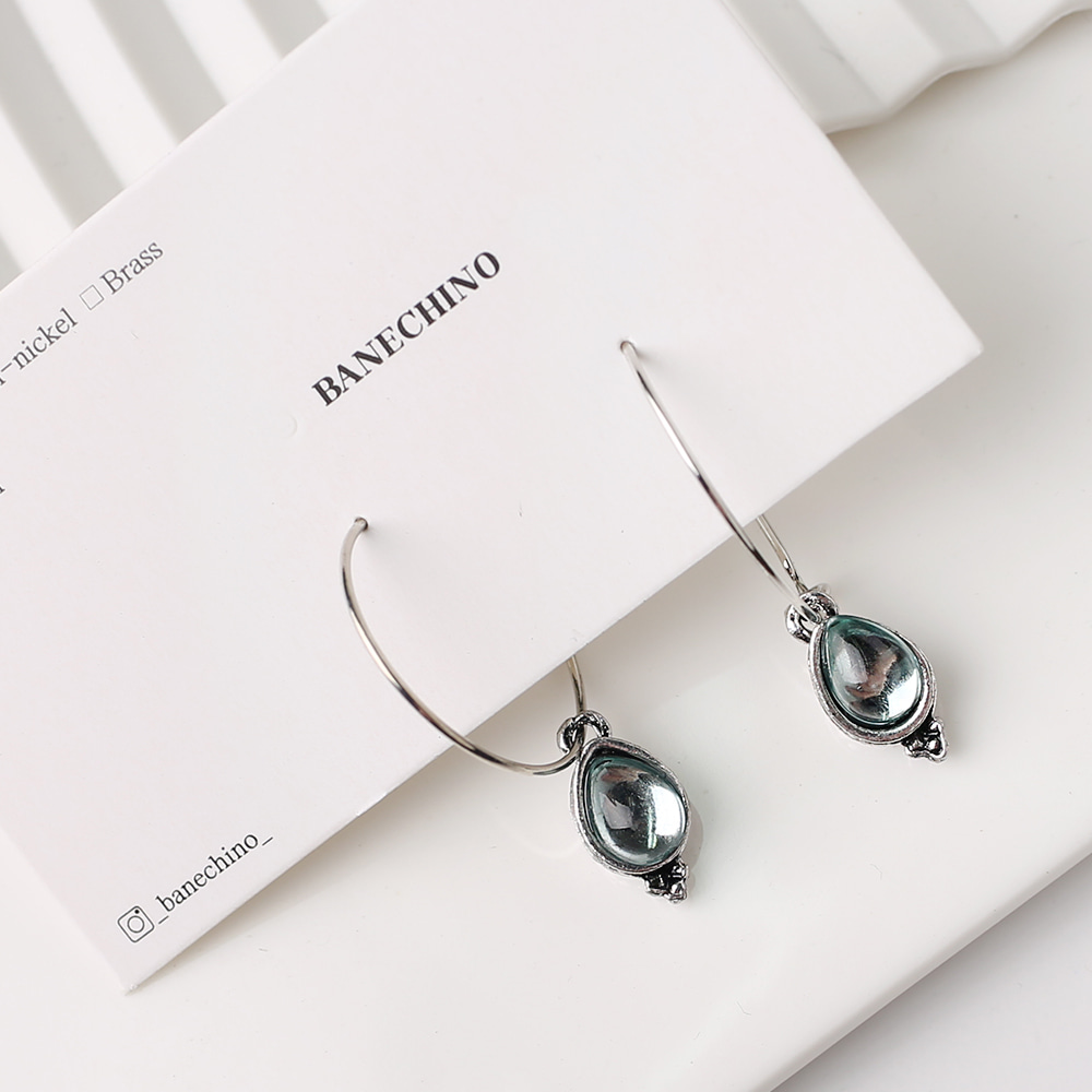 30mm 큐빅 물방울팬던트 무니켈도금침 세트형 귀걸이부자재 S-FF-034
