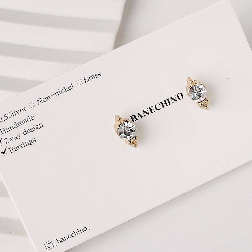 10mm 클린큐빅 골드삼각받침 무니켈도금침 세트형 귀걸이 부자재 S-FF-038