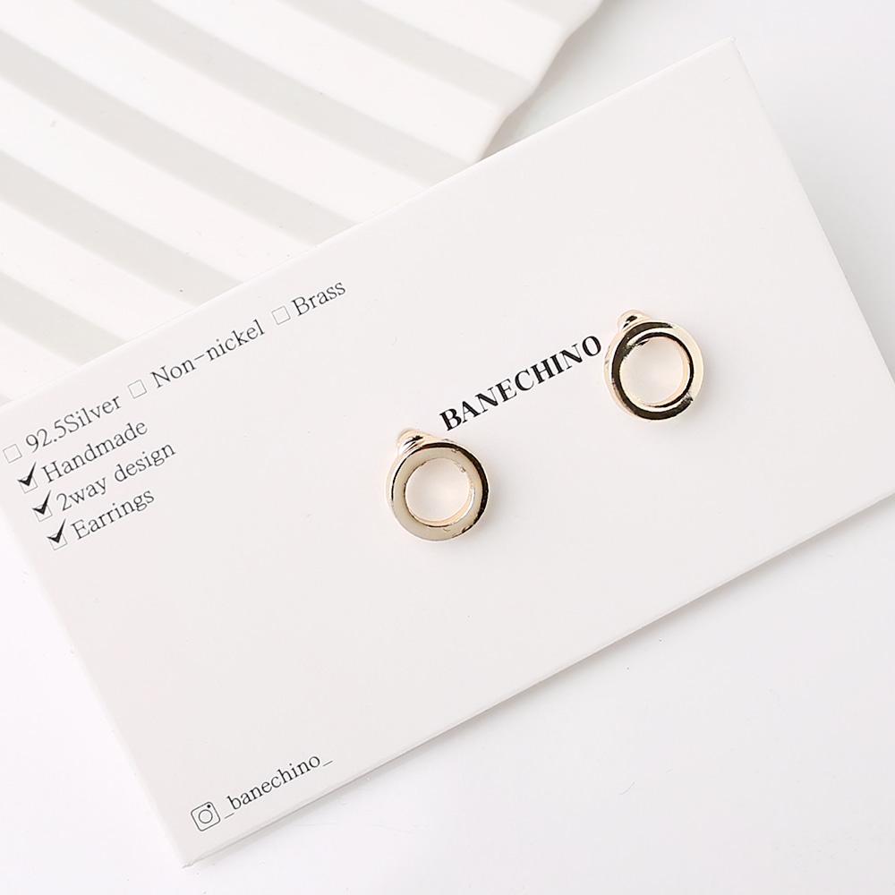 8mm 라운드 골드 티탄침 세트형 귀걸이부자재 S-FF-041