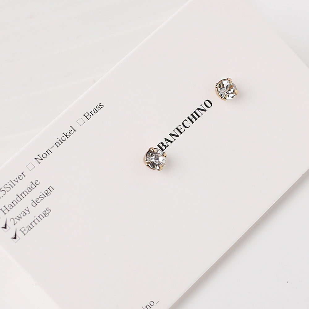 4mm 큐빅 무니켈도금침세트형 귀걸이부자재 S-FF-043