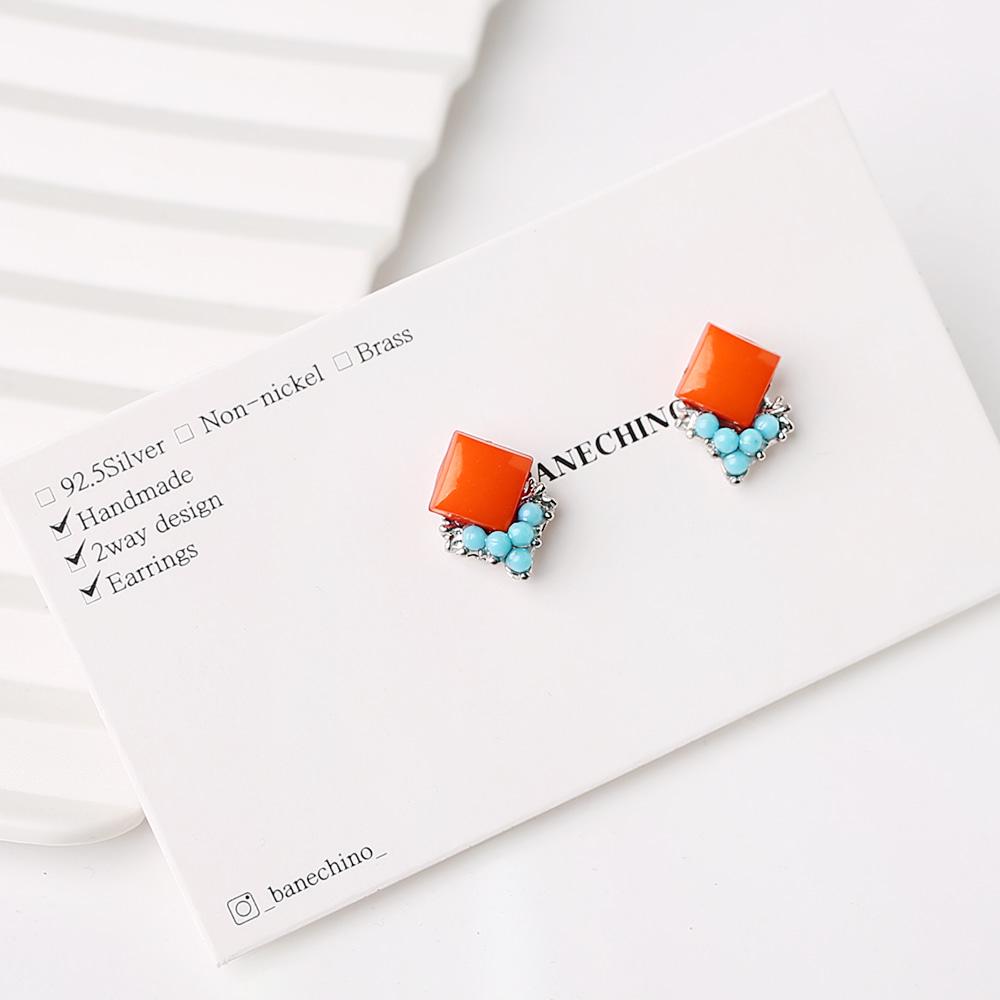 12mm 사각 오렌지 무니켈도금침 세트형 귀걸이부자재 S-FF-059
