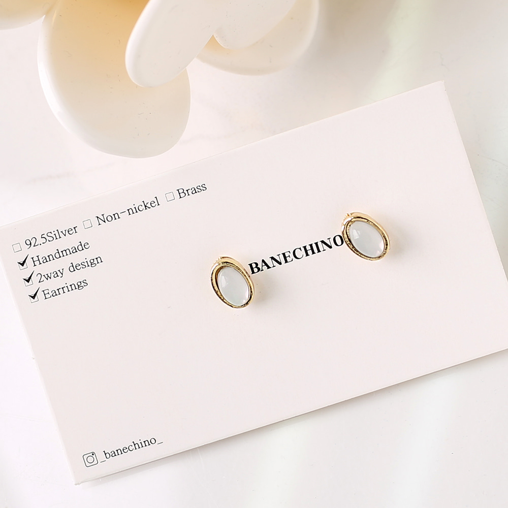 7mm 프린세스타원 화이트큐빅 무니켈도금침 세트형 귀걸이부자재 S-FF-066