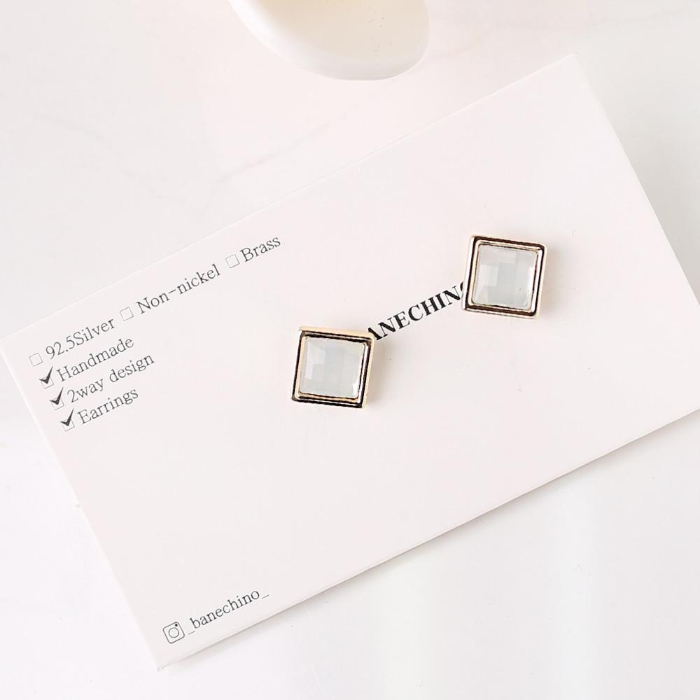 7mm 사각형 화이트큐빅 세트형 귀걸이부자재 S-FF-077