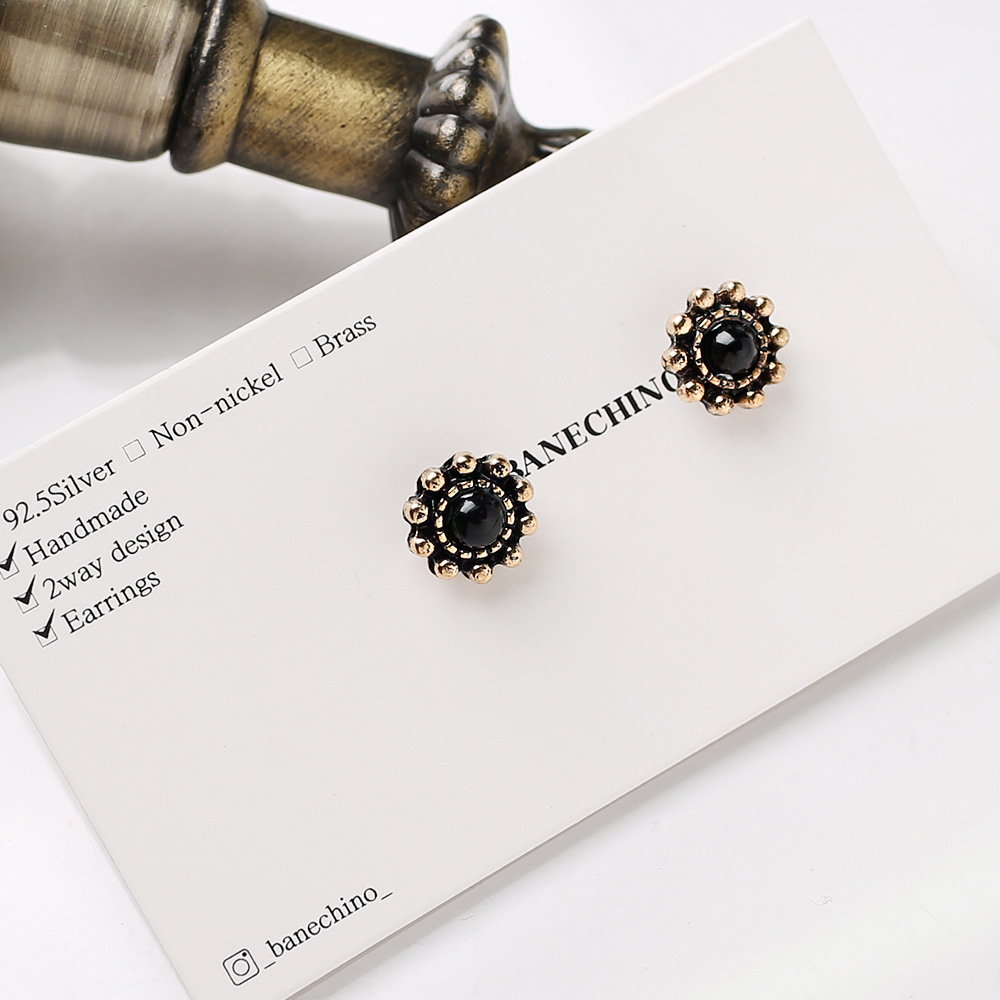 9mm 엔틱 블랙큐빅 무니켈도금침 세트형 귀걸이부자재 S-FF-093